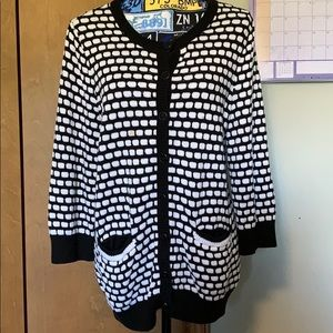 CJ Banks Black and White Cardigan Size X